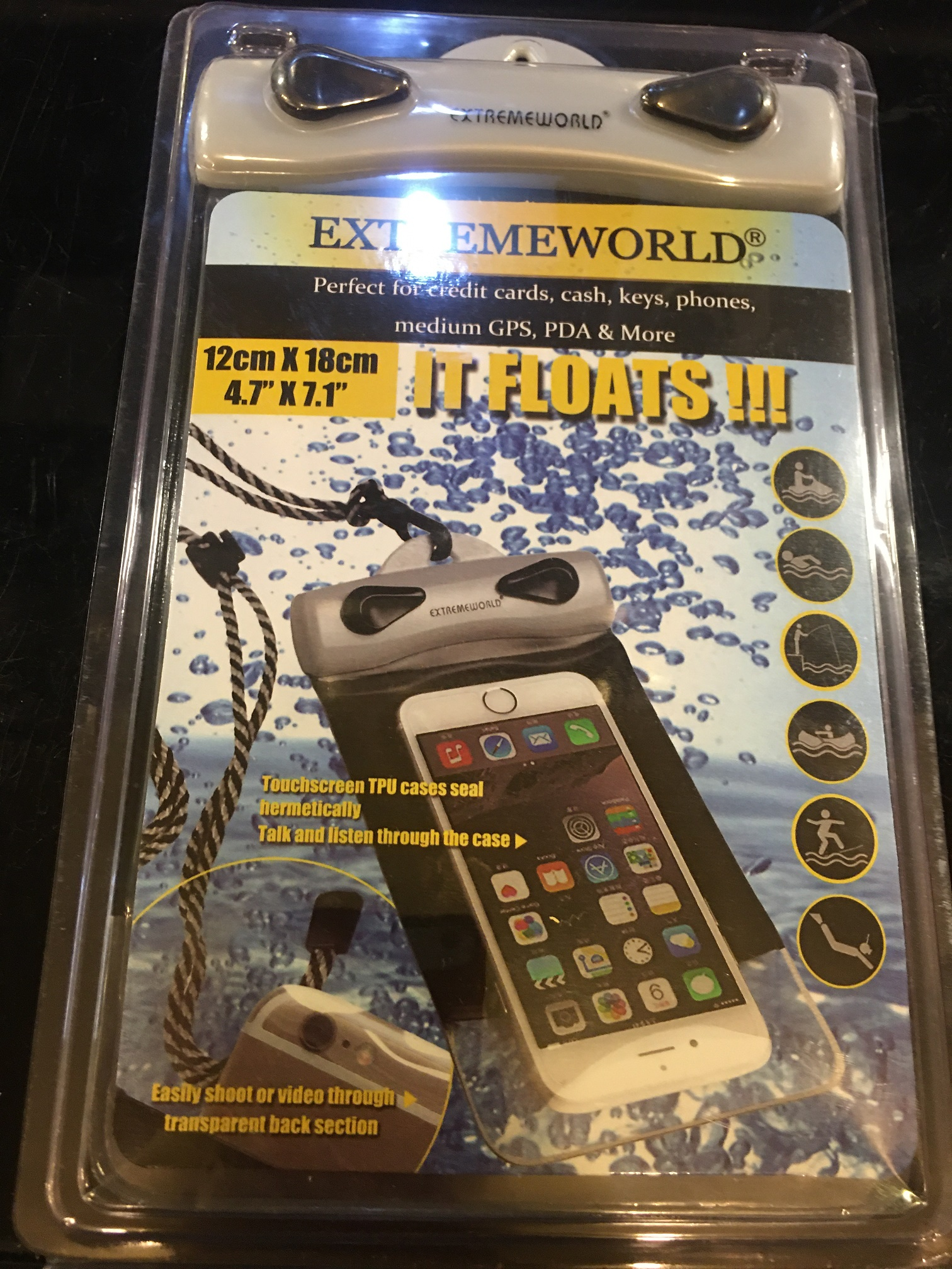 EXTREMEWORLD waterproof case for smartphones, wallet, cash, anything