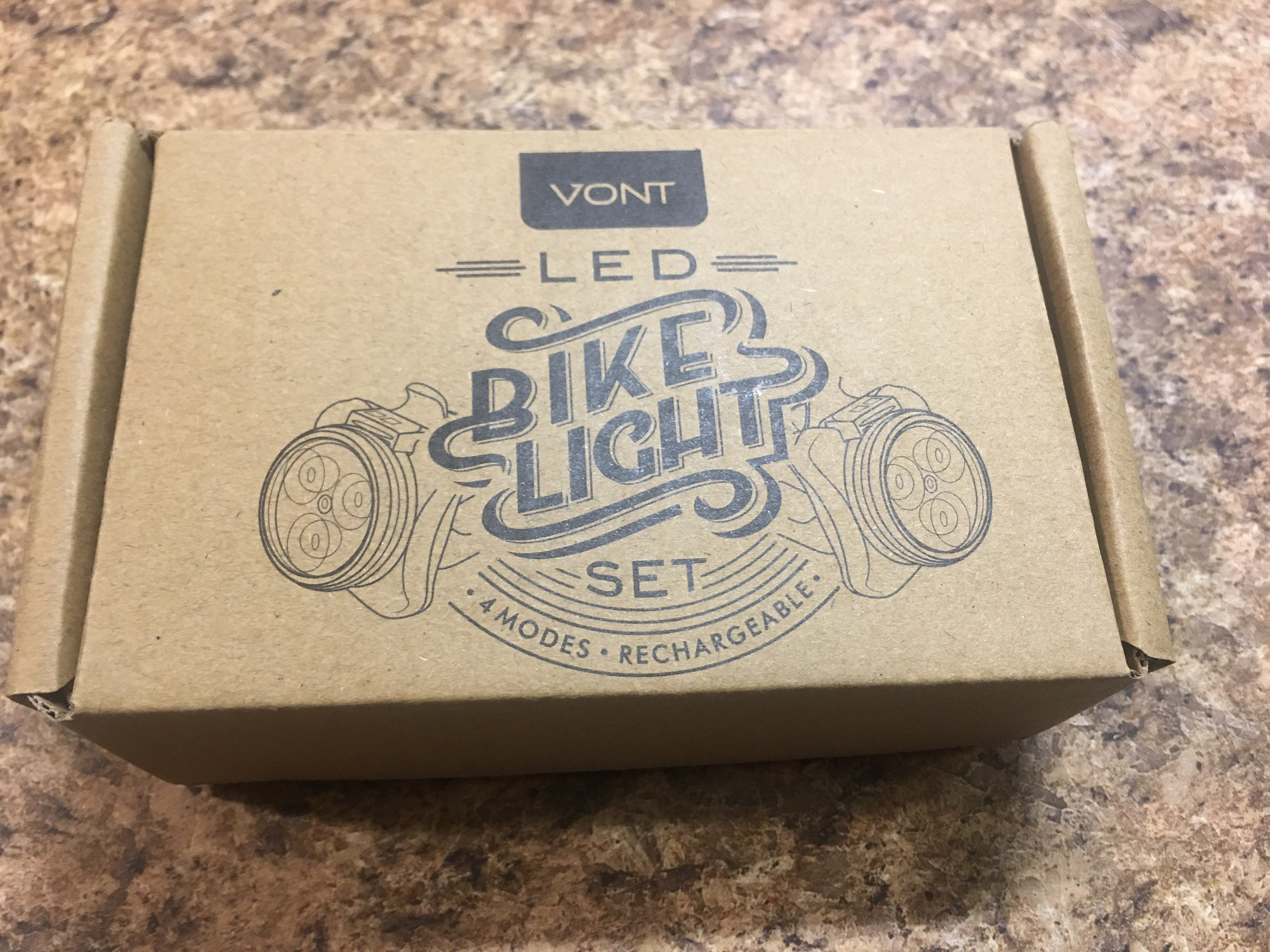 VONT rechargeable bike and hike lights red and white 4 modes