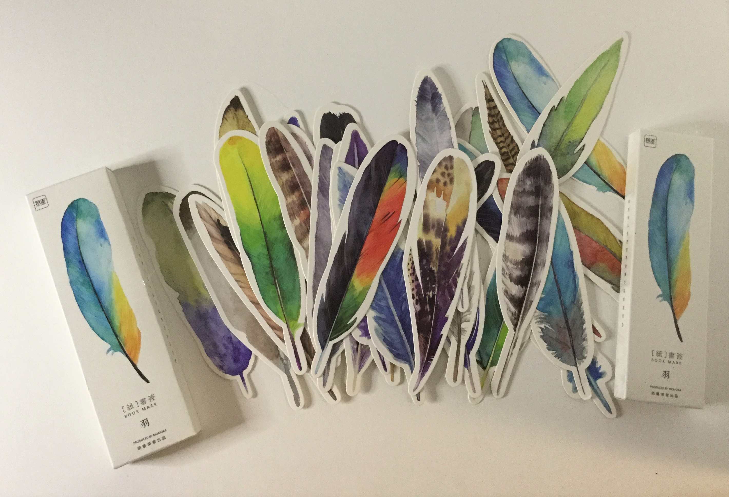 beautiful feather paper bookmarks