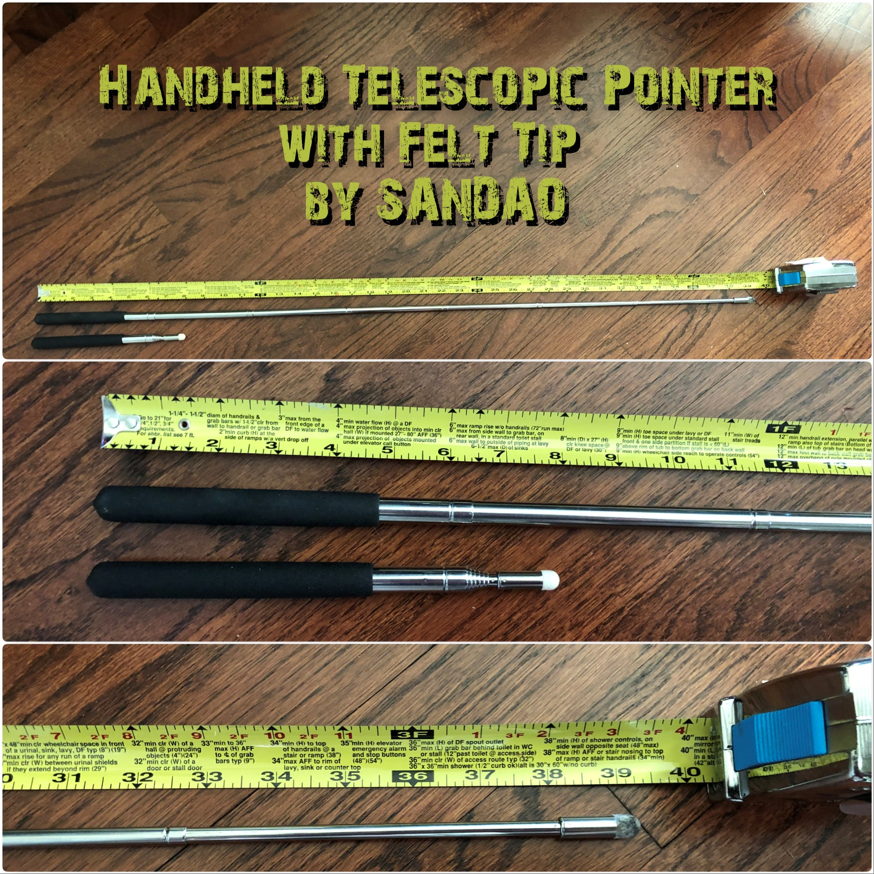 Fantastic Handheld Telescopic Pointer with Felt Tip by SANDAO