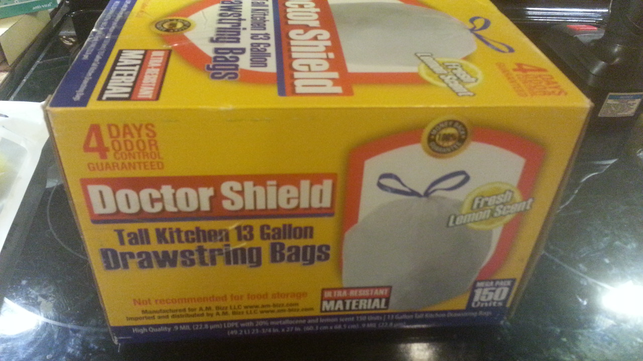 Lemon scented kitchen trash bags, with draw strings