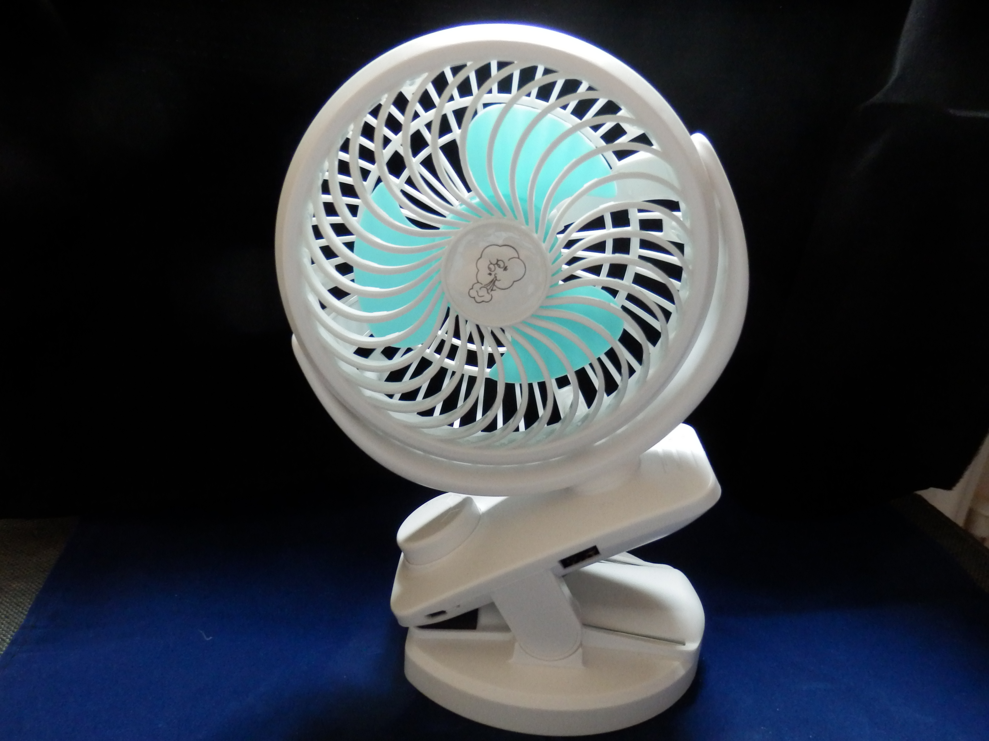 Ausein Portable Mini Clip-on White Fan with 5000mAh Rechargeable Battery