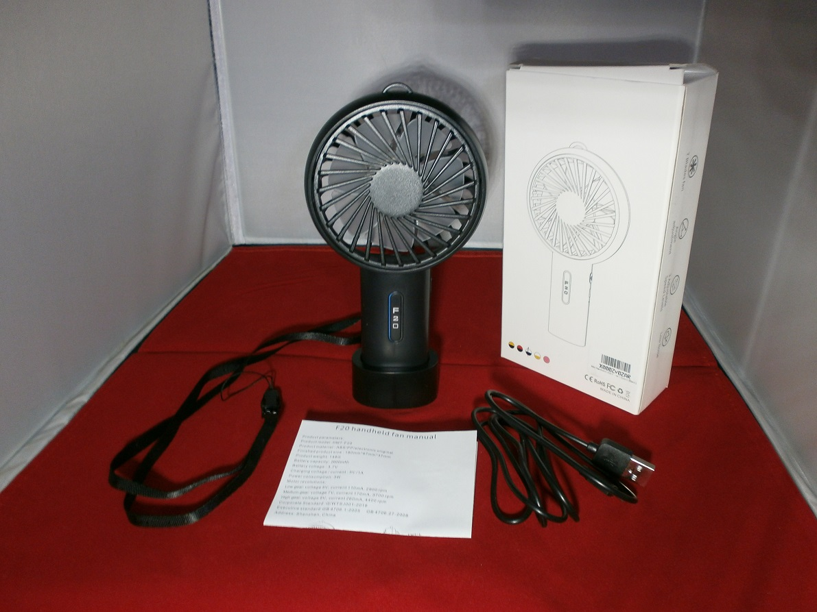 Small Personal USB Desktop Cooling Fan with Rechargeable 2600 mAh Battery by LOBKIN