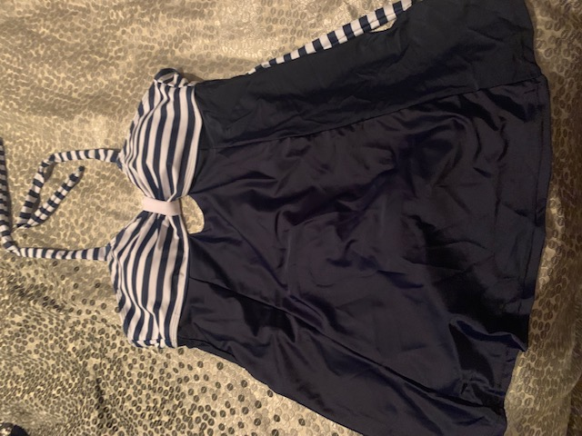Navy & White Tankini Top Set with Boyshorts