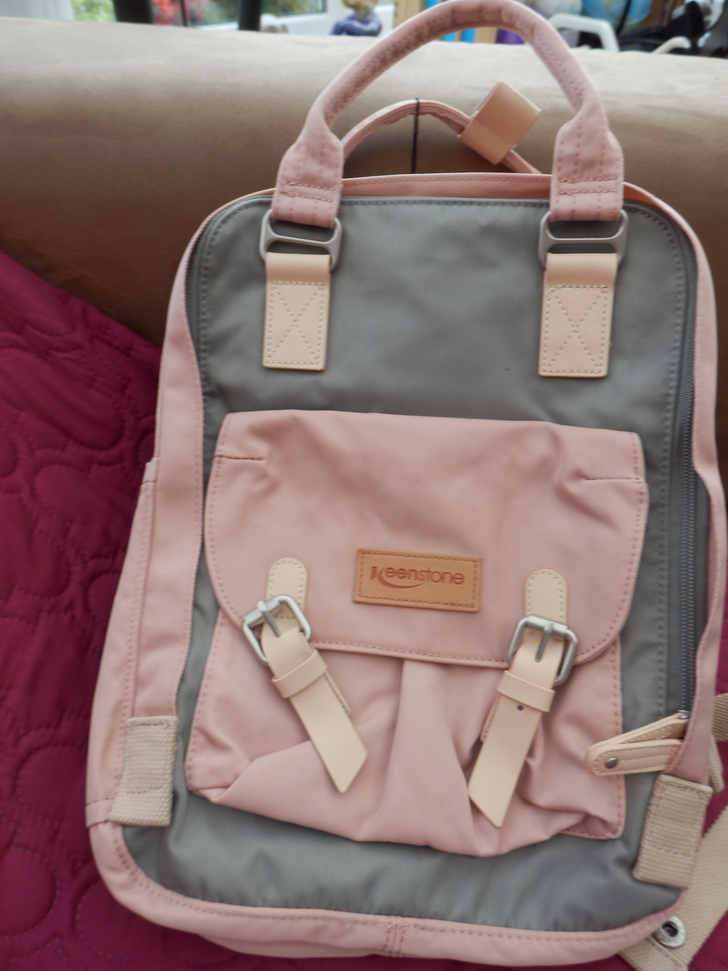 Rucksack Satchel for Women, Pink, with Many Pockets and with USB Charging Port by Keenstone