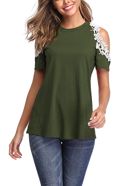 Cold Shoulder Short Sleeve Loose Shirt