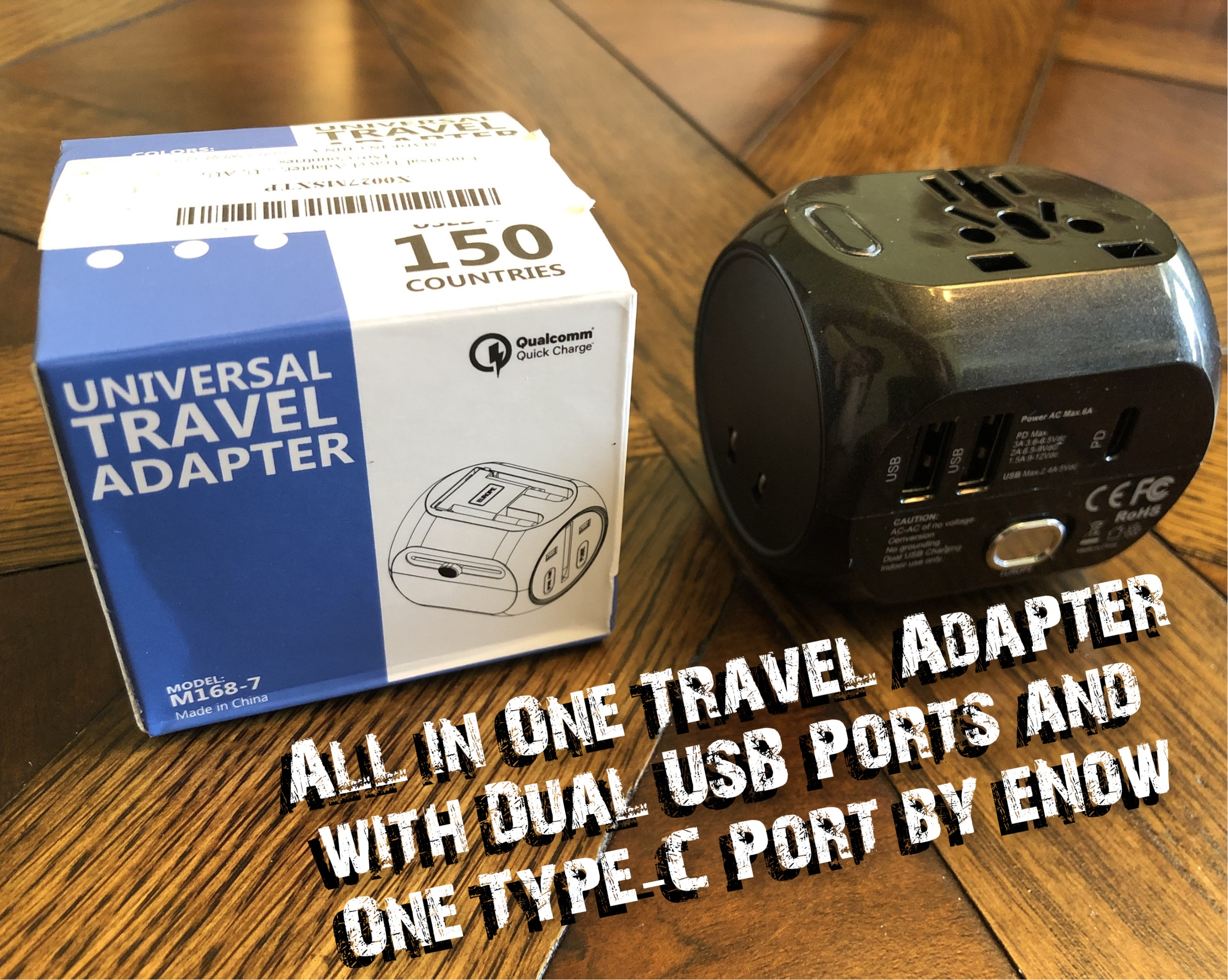 (All in One) Universal Travel Adapter with Dual 2.4A USB Charging Ports and One Type-C QC 3.0 Port by Enow