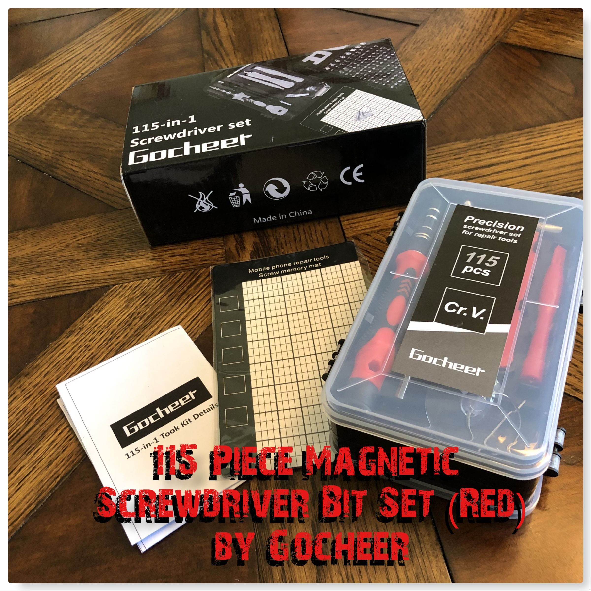 Review of the: 115 Piece Magnetic Screwdriver Bit Set (Red) by Gocheer