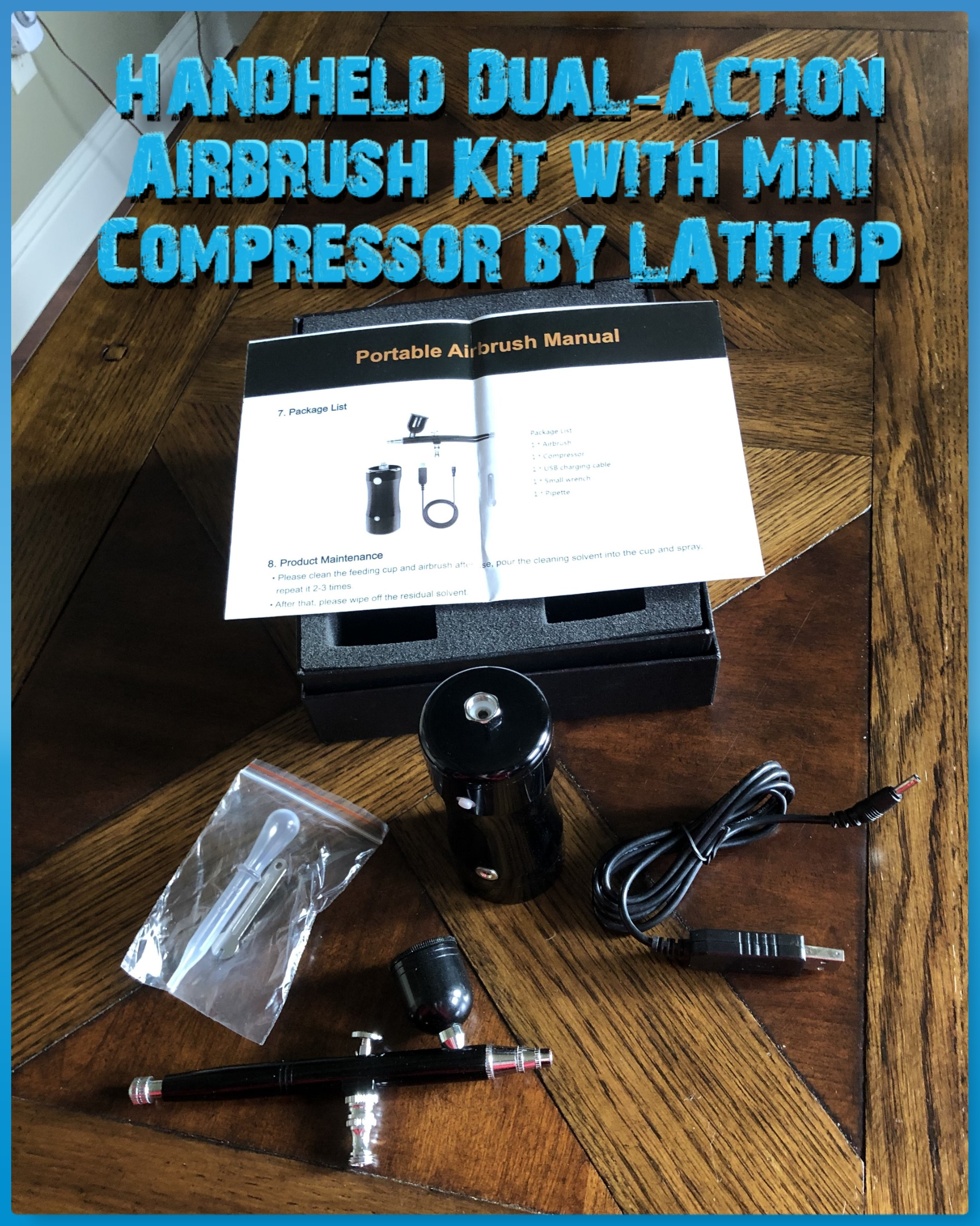Handheld Dual-Action Airbrush Kit with Mini Air Compressor (Black) by LATITOP