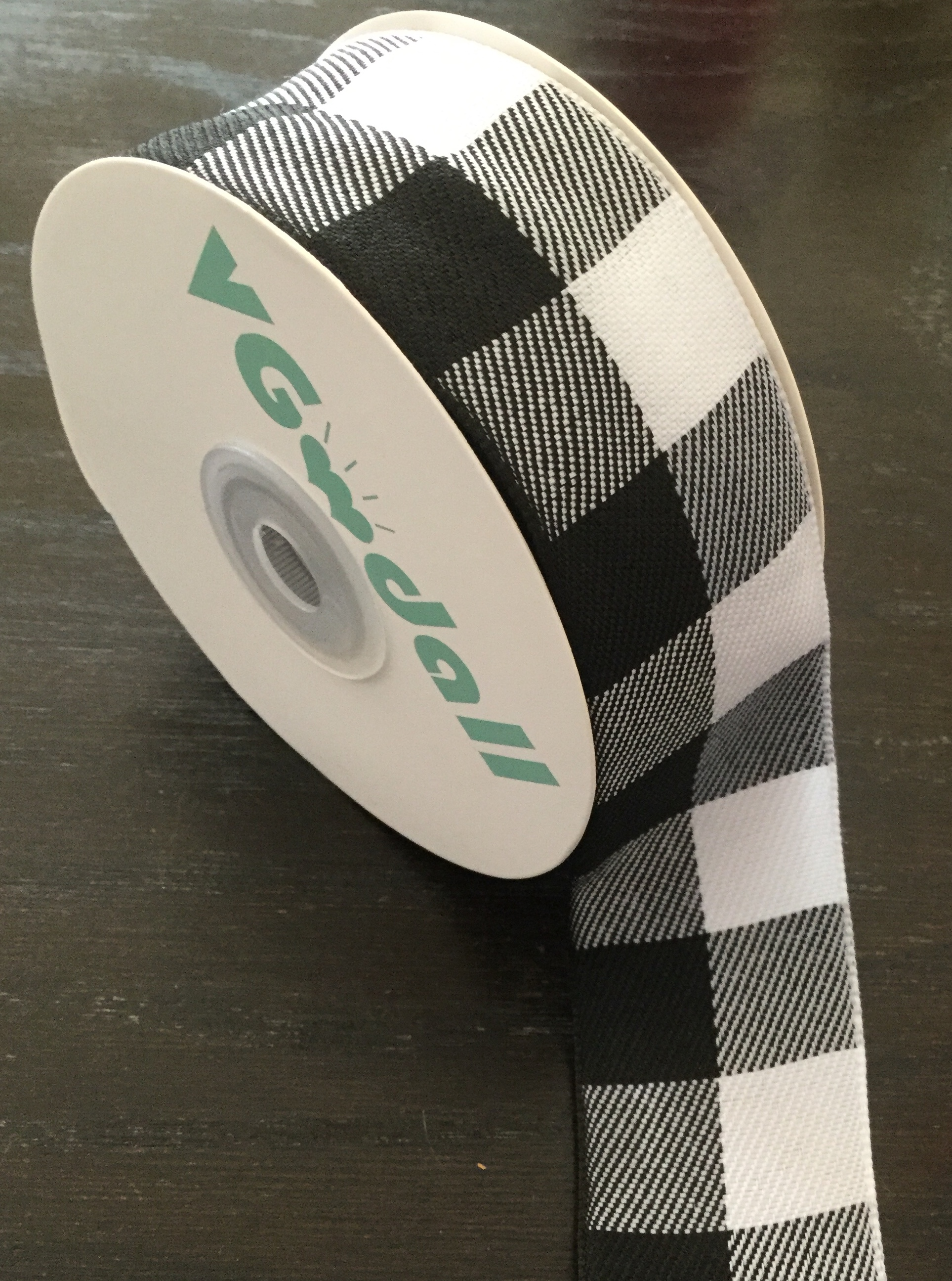 Cute black and white checkered ribbon