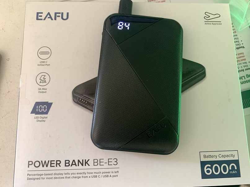EAFU portable USB battery pack charger, pocket-sized