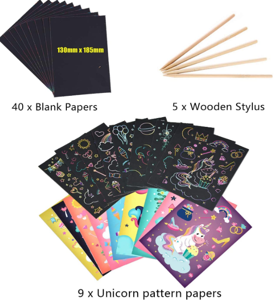 Scratch Art Set with Patterns for Kids