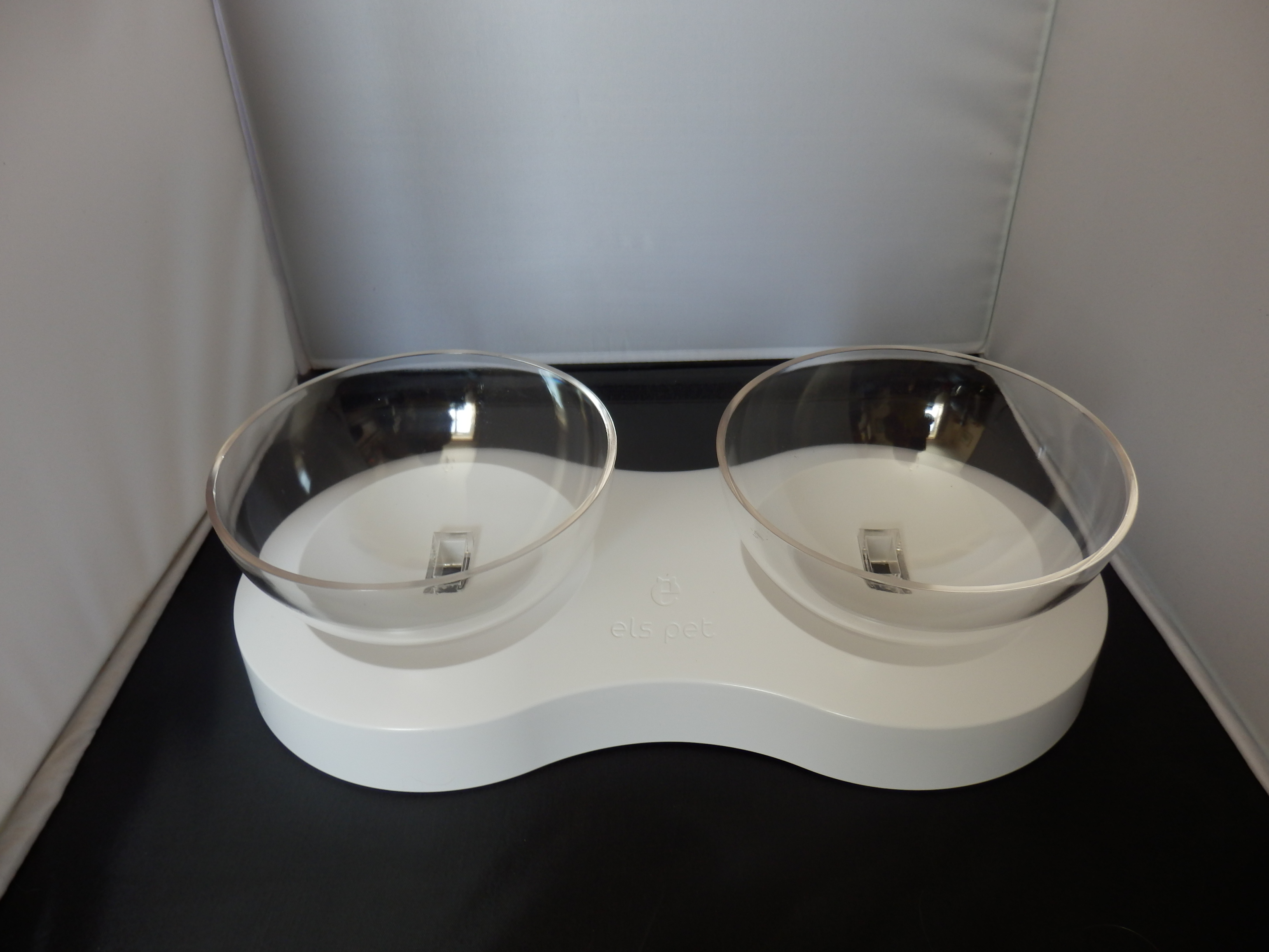 SKJIND Tilted Cat Transparent Non-Spill Double Bowls with Raised Stand