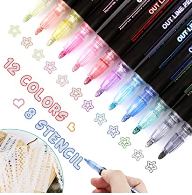 12 Colors Outline Metallic Markers