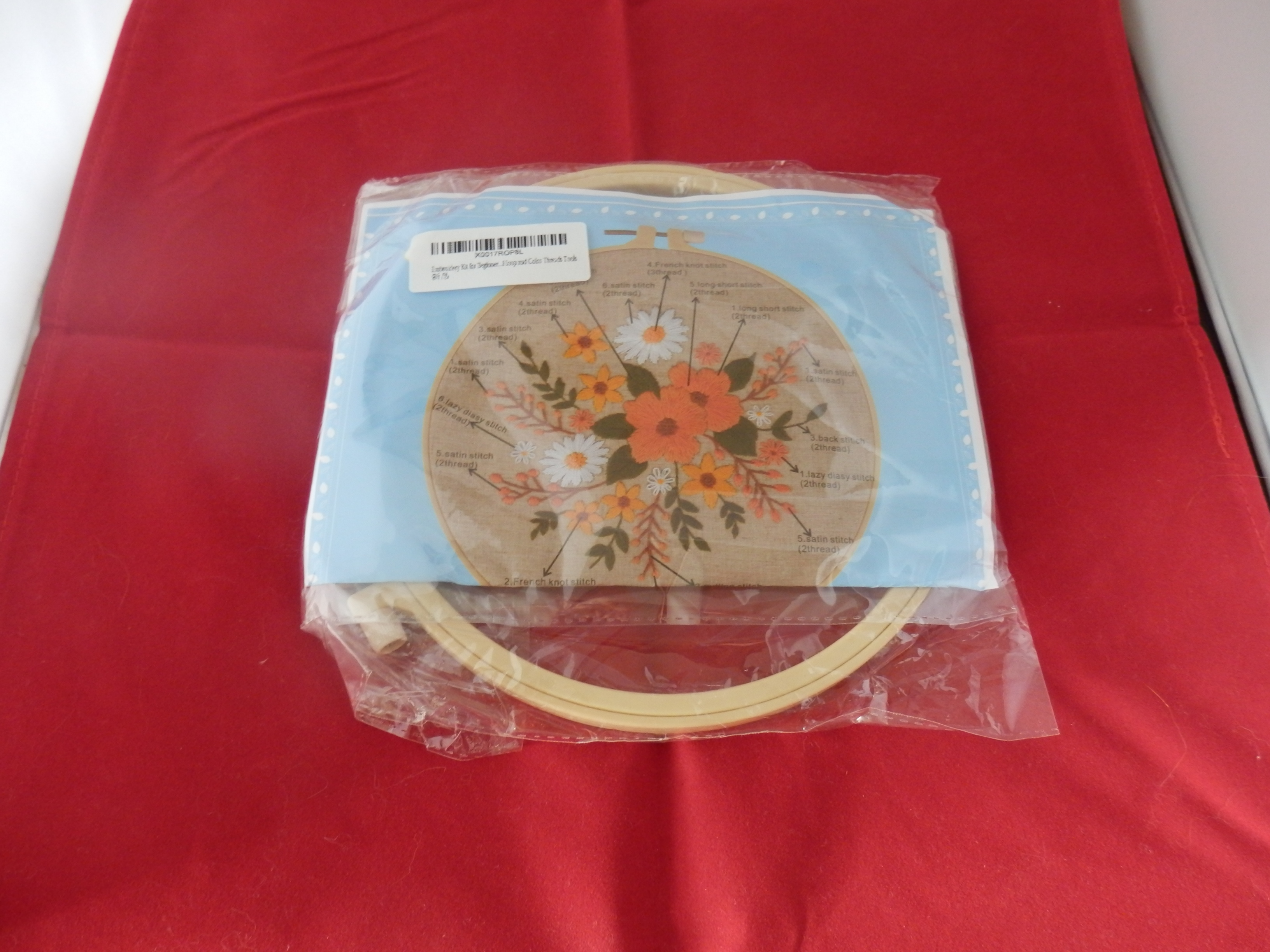Embroidery Kit for Beginners with Printed Pattern, Embroidery Hoop and Coloured Threads by FoolsAlibai