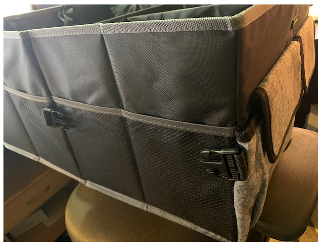 Perfect car storage tote with a bunch of compartments