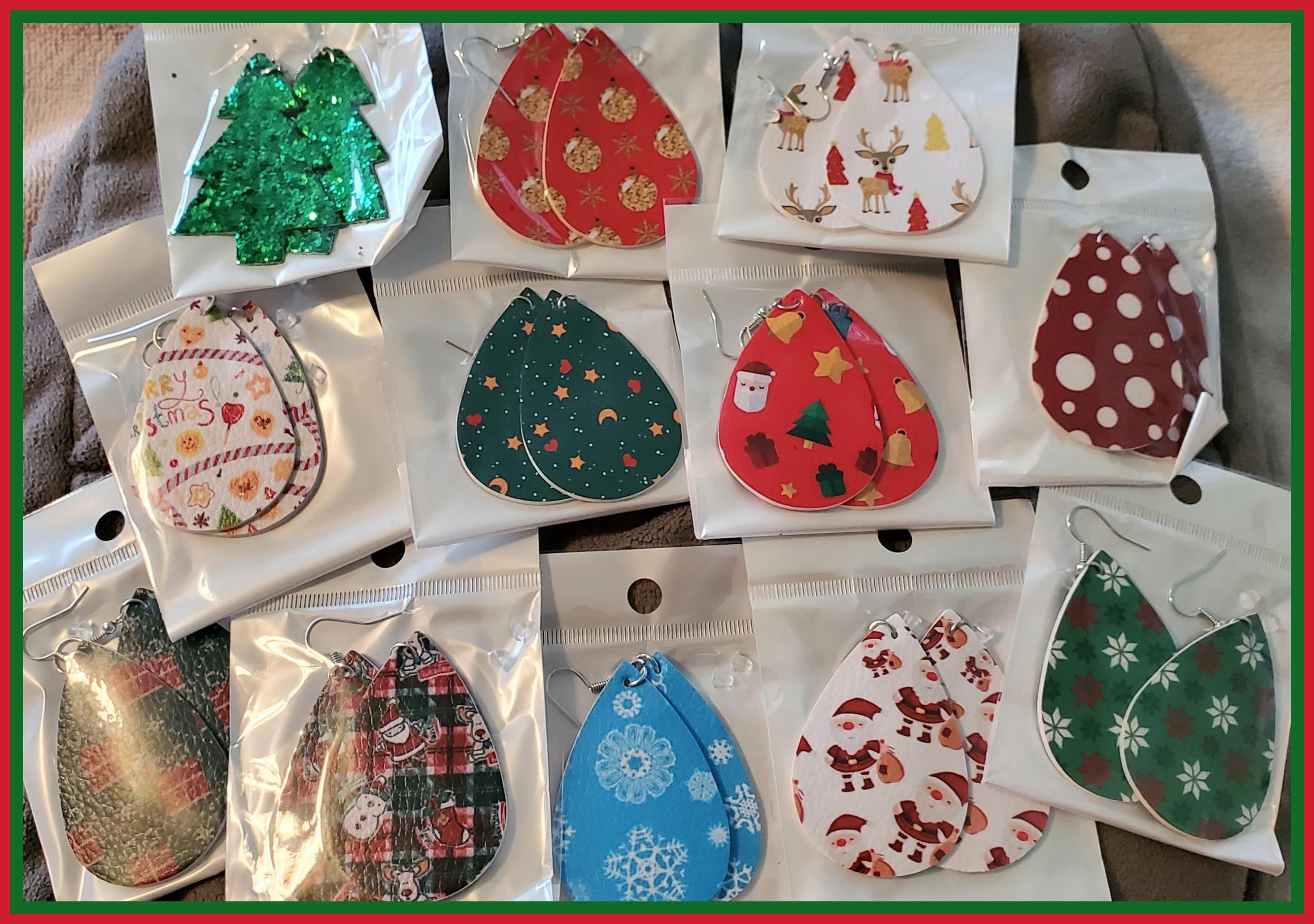 12 PAIRS - Super Cute Christmas Earrings!