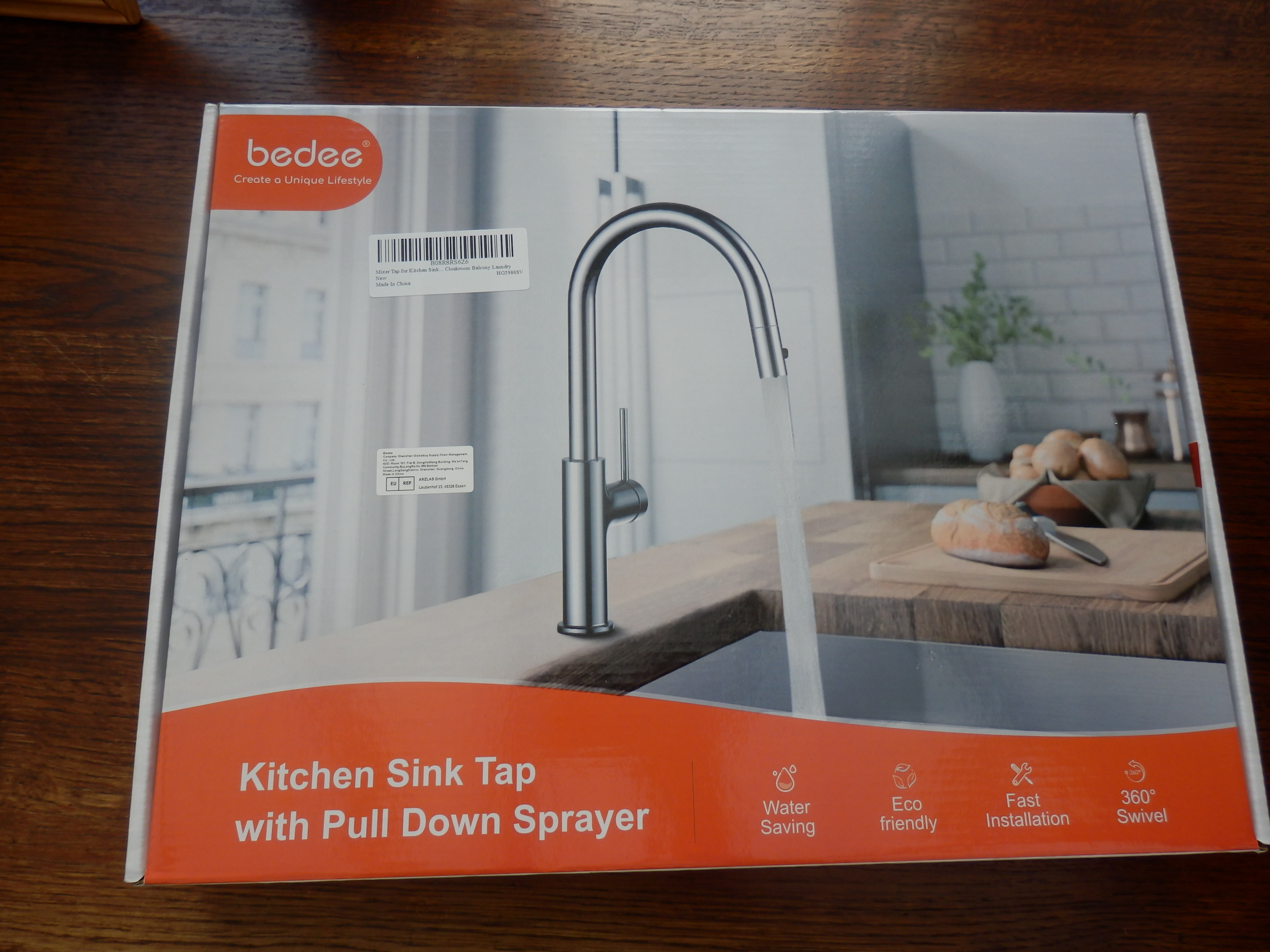 Stainless Steel Mixer Tap with Pull -down Spray for Kitchen Sink by Bedee