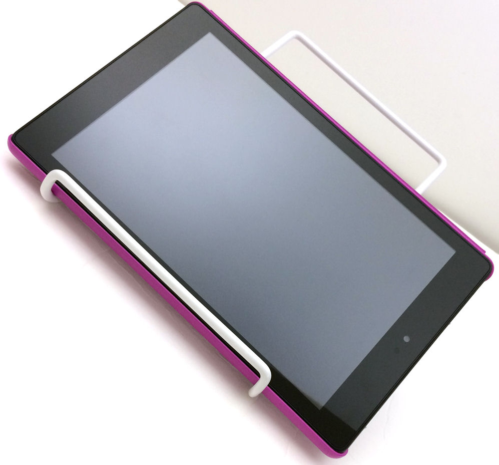 Easel Style Tablet Stand Easily Changes Position For Best Viewing