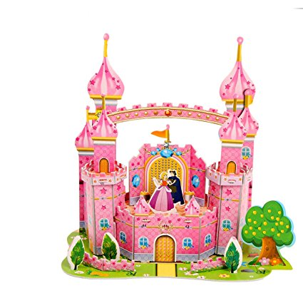 3D Puzzle Jigsaw Pink Castle Palace Cubic Dollhouse Model