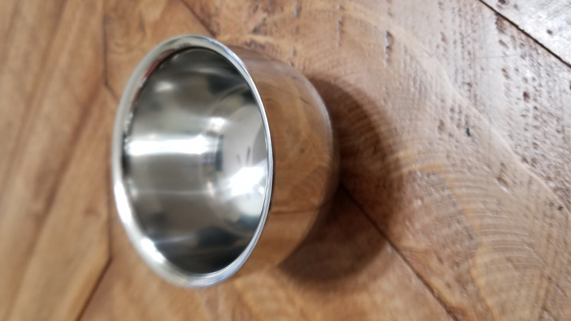 Small stainless steel shaving cup, but perfect for travel