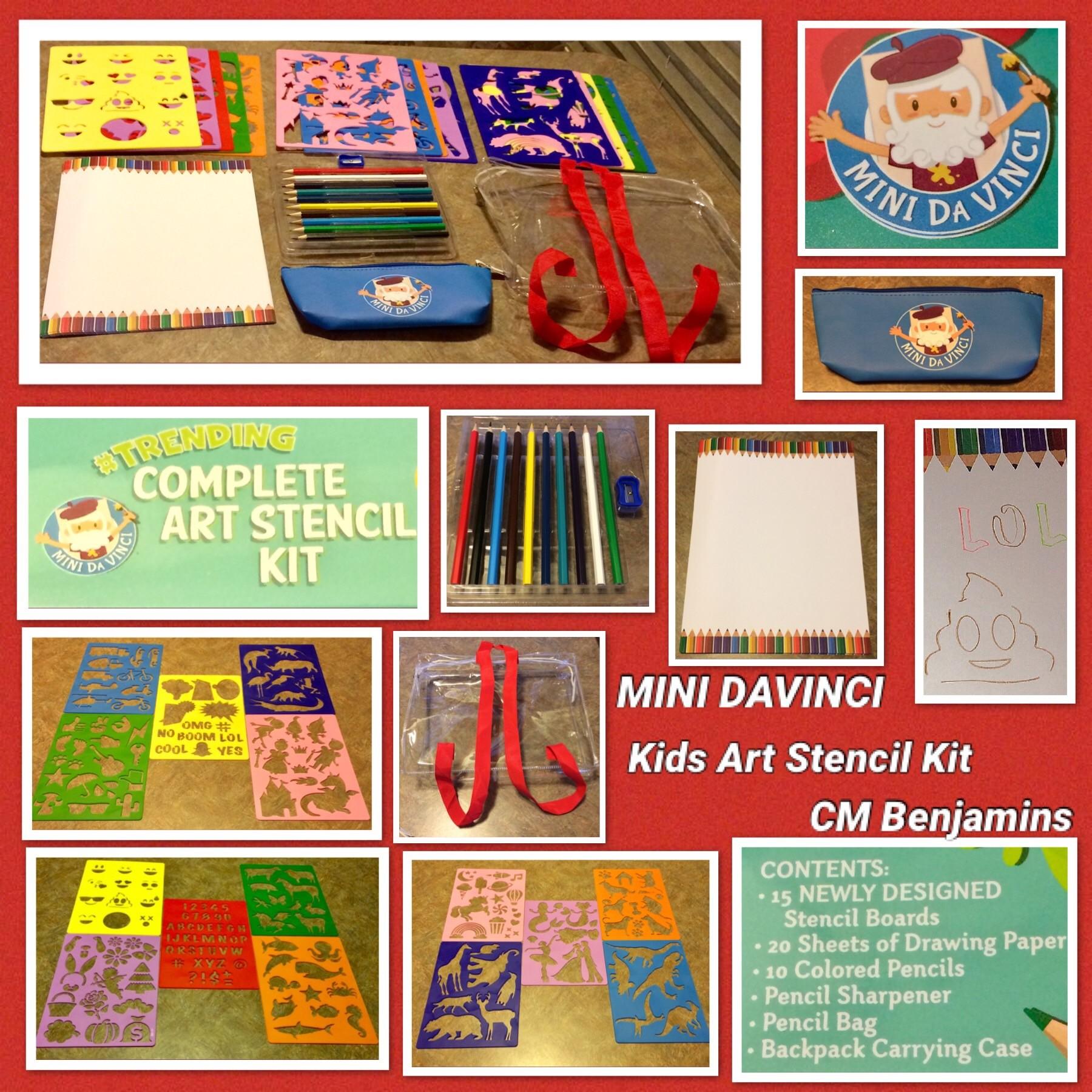 Mini Davinci Fun Stencil - Stencils For Kids - Unicorn Stencils - Emoji Stencils - New For 2019 -Sturdy Classroom Art Drawing Stencils - Shape Stencils And Letter Stencils For Kids - Number Stencils - Gift For Girls And Boys