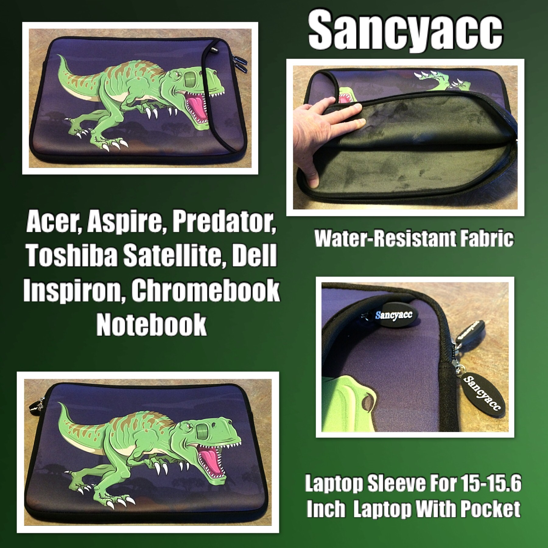 Sancyacc Laptop Sleeve for 15-15.6 Inch, Water-Resistant Fabric Laptop Case With Pocket For Acer, Aspire, Predator, Toshiba Satellite, Dell Inspiron, Chromebook Notebook (Dino)