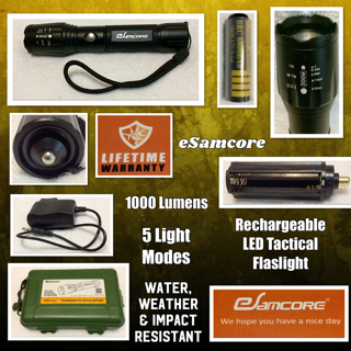 Rechargeable LED Tactical Flashlight, eSamcore Water resistant Flashlight With Safety Hammer And 18650 Battery & Charger (Zoomable) (1000 Lumens) (5 Modes) For Camping Outdoor Emergency
