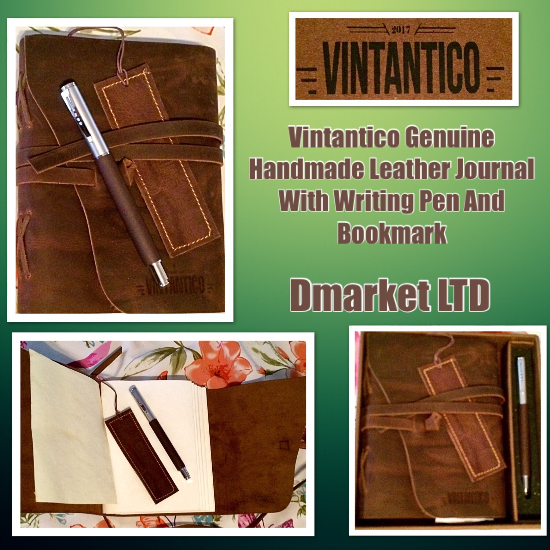 Vintantico Genuine Leather Journal With Writing Pen (Brown) Vintage, Bound, Handmade Cover Recycled Unlined Paper | Men's & Womens's Personal Notepad | Incl. Bookmark, Giftbox