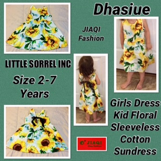 Dhasiue Girls Dress Kid Floral Sleeveless Cotton Sundress Summer Girls Clothes Size 2-7 Years