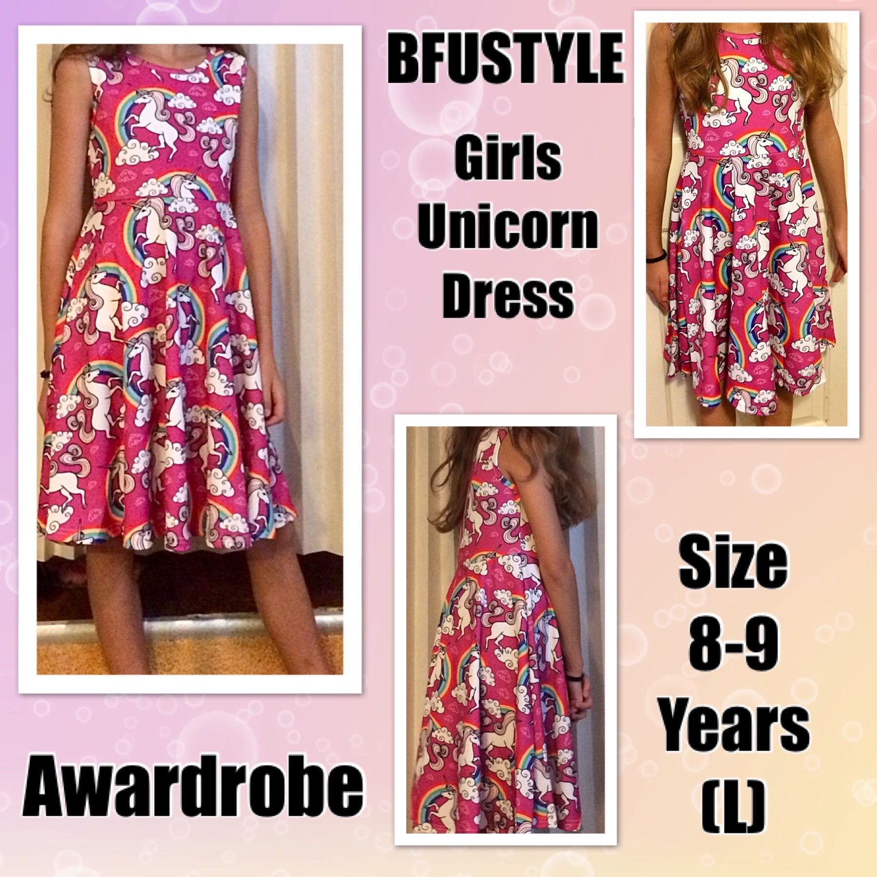 BFUSTYLE Girls Dress Unicorn, Teenage Girl Unicorn Print Sleeveless Casual Dresses Skirts, Size 8 Unicorn Gifts For Little Girls (Unicorn Dress, L) Sold by Awardrobe