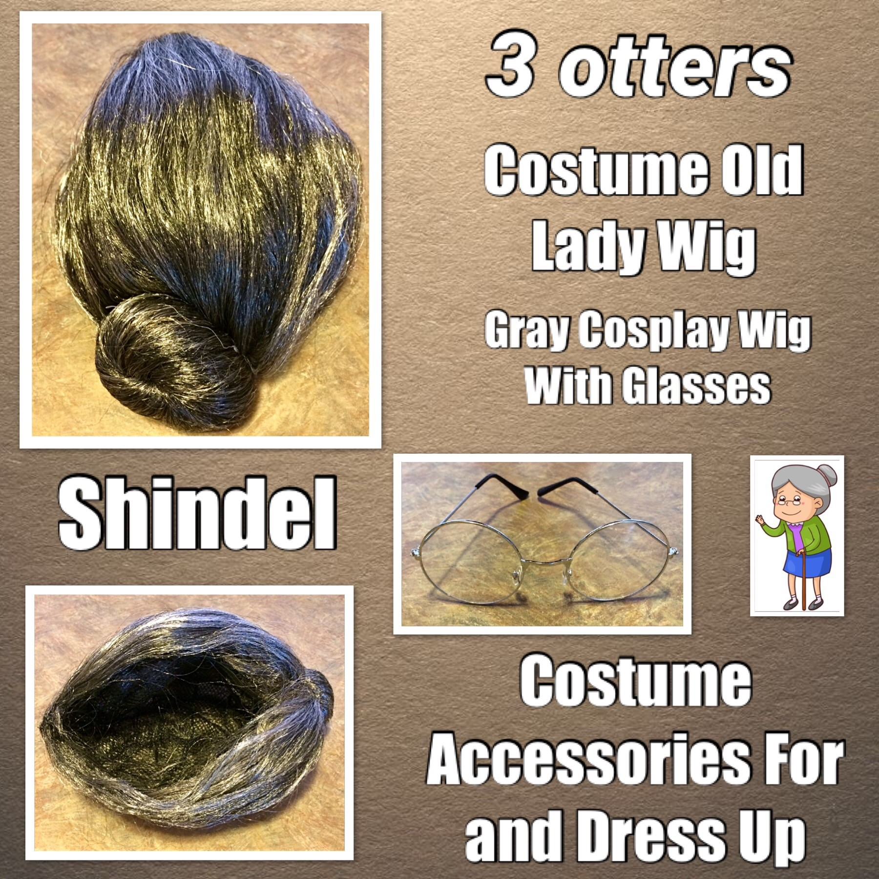 Costume Old Lady Wig, Gray Wig Women's Cosplay Wig With Glasses Costume Accessories For Dress Up Perform (2 PCS) - 3 otters
