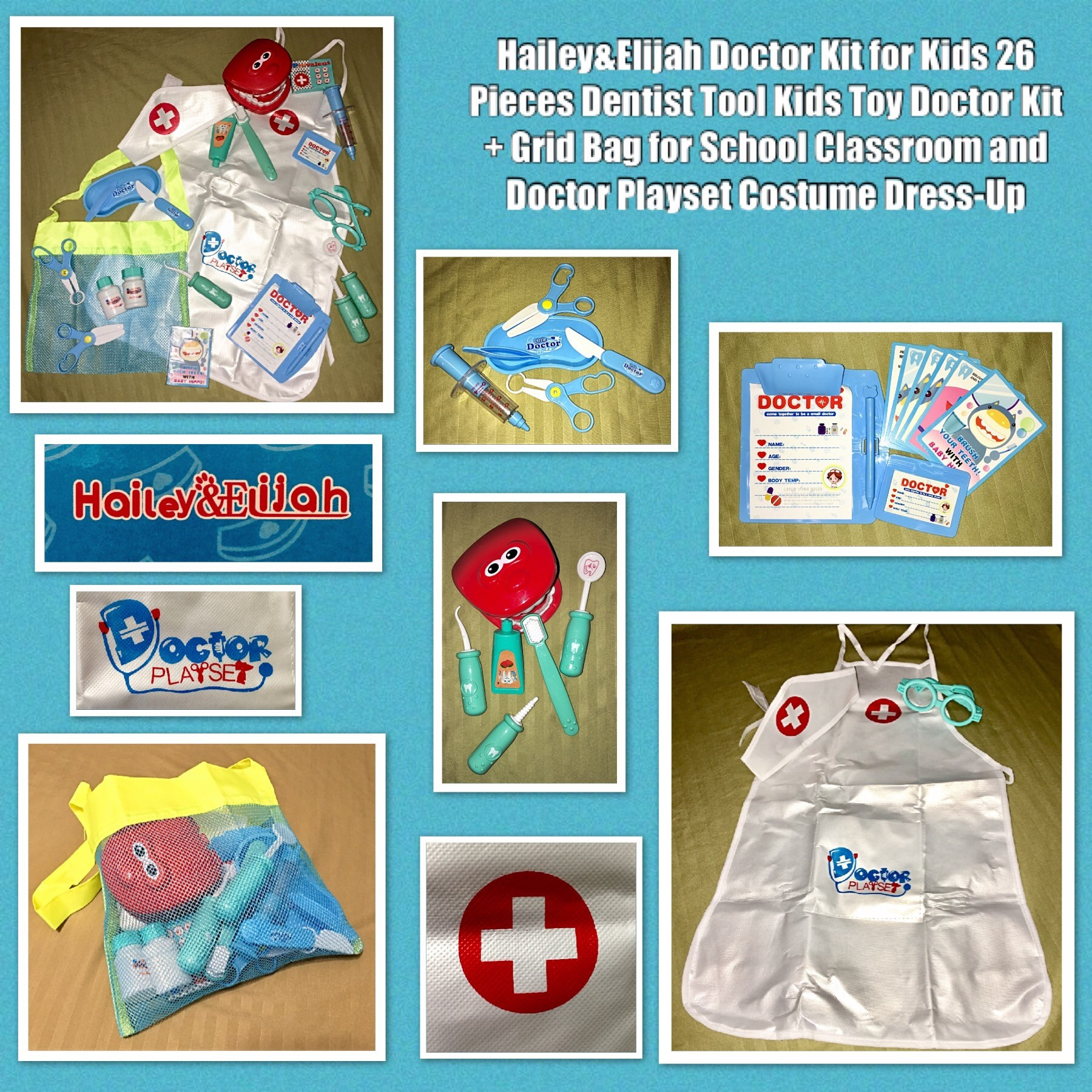 Hailey & Elijah Doctor Kit for Kids - 26 Pieces Dentist Tool Kids Toy Doctor Kit + Grid Bag for School Classroom and Doctor Playset Costume Dress-Up