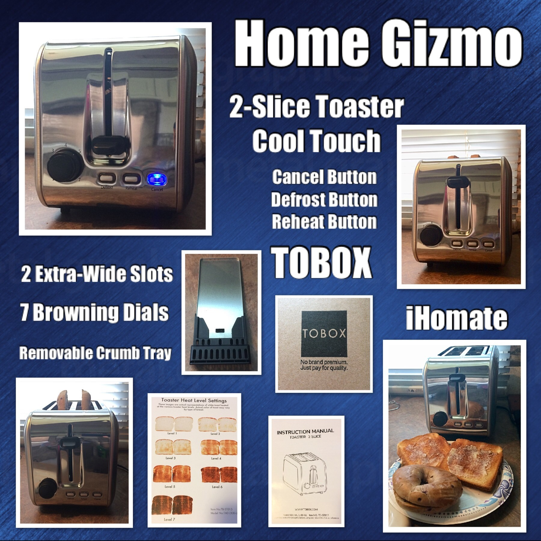 2-Slice Toaster, Home Gizmo Cool Touch Toasters With 2 Extra-Wide Slots, 7 Browning Dials And Removable Crumb Tray - Brushed Stainless Steel