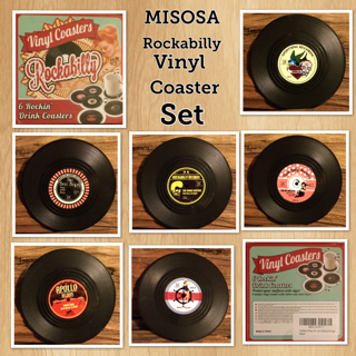 MISOSA 6-Piece Drink Coasters With Gift Box, Rockabilly Vinyl Coaster Set – Protect Furniture From Water Marks & Damage
