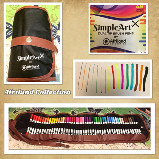 SimpleArt Brush Pens And Dual Tip Color Art Markers - Watercolor Fine Point And Fiber Brush Tip Fineliner Pens - Safe Non-toxic Water Based For Kids And Adult Coloring - 48 Unique Colors in Canvas Bag