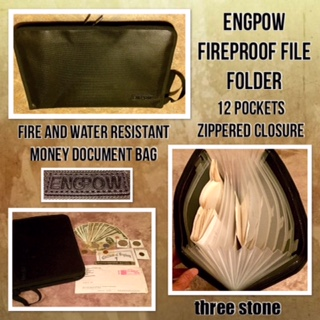 "ENGPOW Fireproof File Folder Firepeoof Fire And Water Resistant Money Document Bag With A4 Size 12 Pockets Zipper Closure Non-Itchy Silicone Coated Portable Filing Organizer Pouch (14.3"" x 9.8"")"