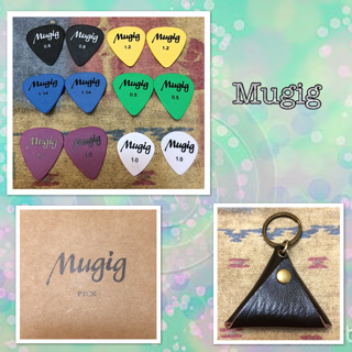 Mugig Guitar Picks Plectrums (Delrin) With Leather Pick Holder Case, Contain 12 Picks Thickness 0.5 / 0.8 / 1 / 1.14 /1,2 mm
