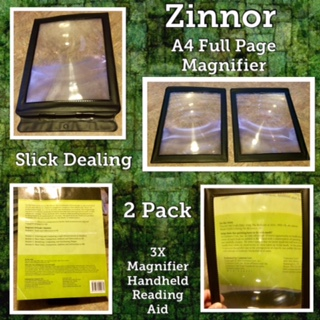 Zinnor A4 Full Page Magnifier - Sheet Magnifier, 3X Magnifier Handheld Reading Aid Magnifying Glass - Perfect For Reading Books & Newspapers - Best Gift For The Seniors With Poor Eyesight (2 Pack)