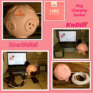 KuDiff Cool USB Charging Station With Power Strip 4 USB 8 AC Outlets And 10 FT Cable 2000W High Power Cute Pig Toy 3D Cube Housing Fireproof Smart Charging For Home Use Gift Choice For Lady And Kids