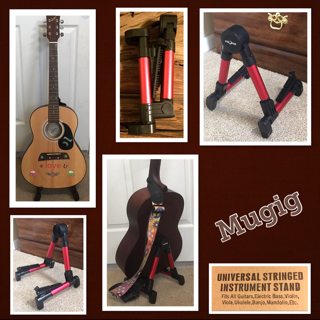 Mugig Guitar Stand, Guitar Accessories – Upgraded Folding A-Frame Instruments Stand For Acoustic / Electric / Classical Guitar, Bass, Banjo – Red
