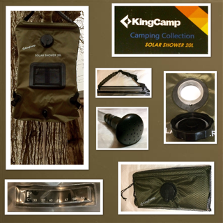 KingCamp Portable Camping 5 Gallon Solar Shower bag With Temperature Gauge