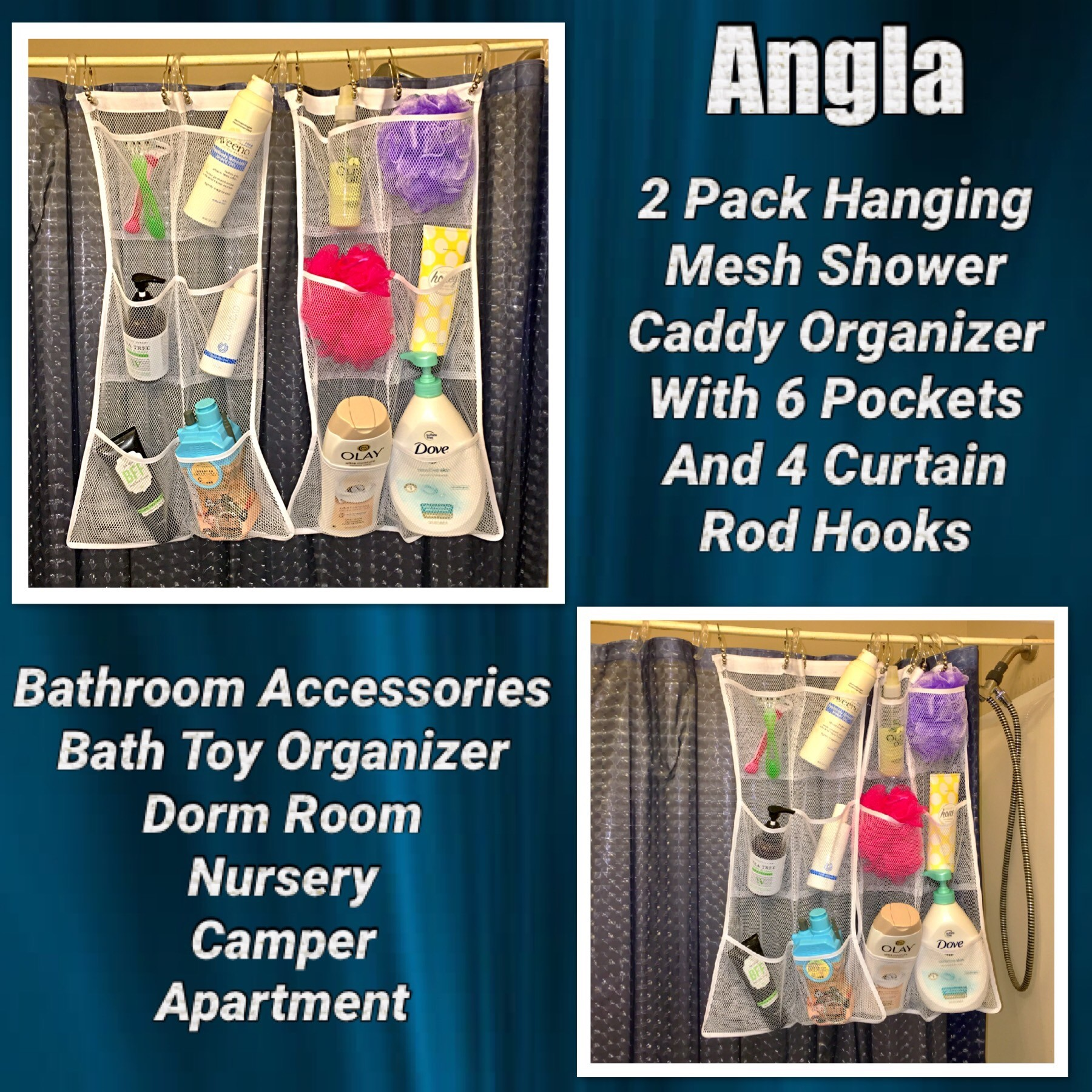 2 Pack Hanging Mesh Shower Caddy Organizer With 6 Pockets, Shower Curtain Rod/Liner Hooks Bathroom Wall Door Organization, Dorm Space Saving, Bathroom Accessories, Bath Toy Organizer Kids With 4 Rings - By -Angla