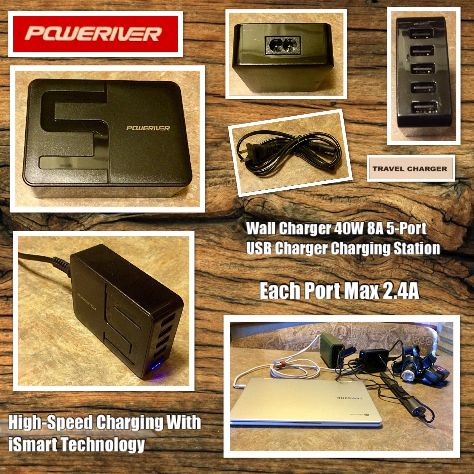 Wall Charger, POWERIVER 40W 8A 5-Port USB Charger Charging Station High-Speed Charging With [Smart Technology Each Port Max 2.4A - By Poweriver