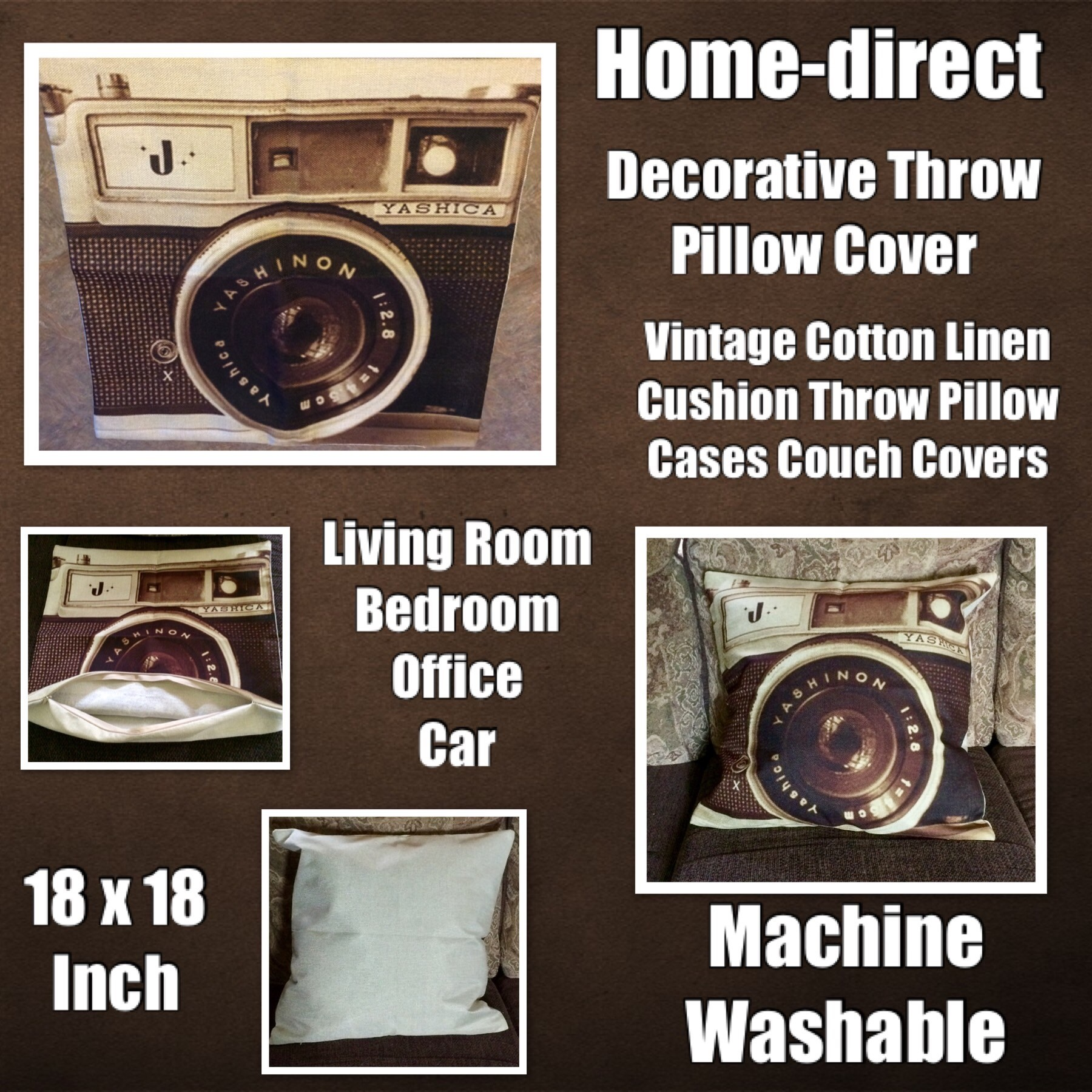 Home-direct Throw Pillow Cover, Decorative Pillowcase Vintage Cotton Linen Cushion Throw Pillow Cases Couch Covers Decoration For Living Room, Bedroom 18 x 18 Inch