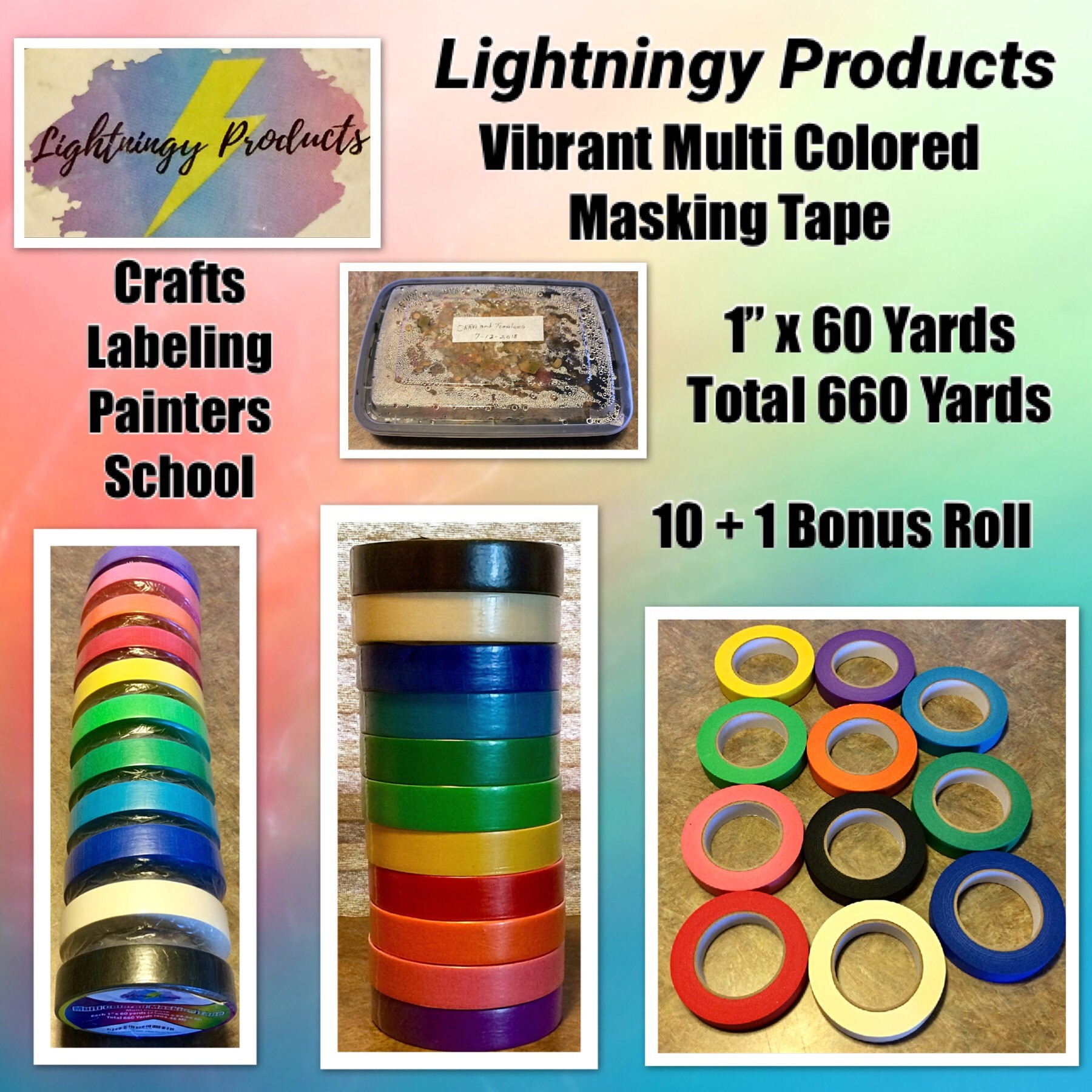 Lightningy Products - Vibrant Multi Colored Masking Tape - 10 Rolls Plus One Bonus Roll