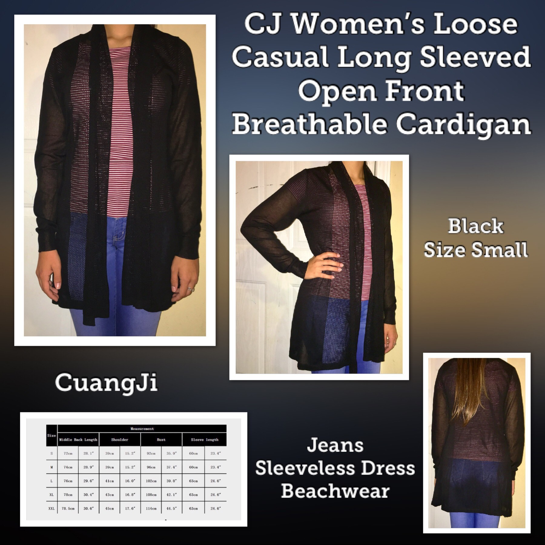 CJ Women's Loose Casual Long Sleeved Open Front Breathable Cardigan - (Black) Size Small