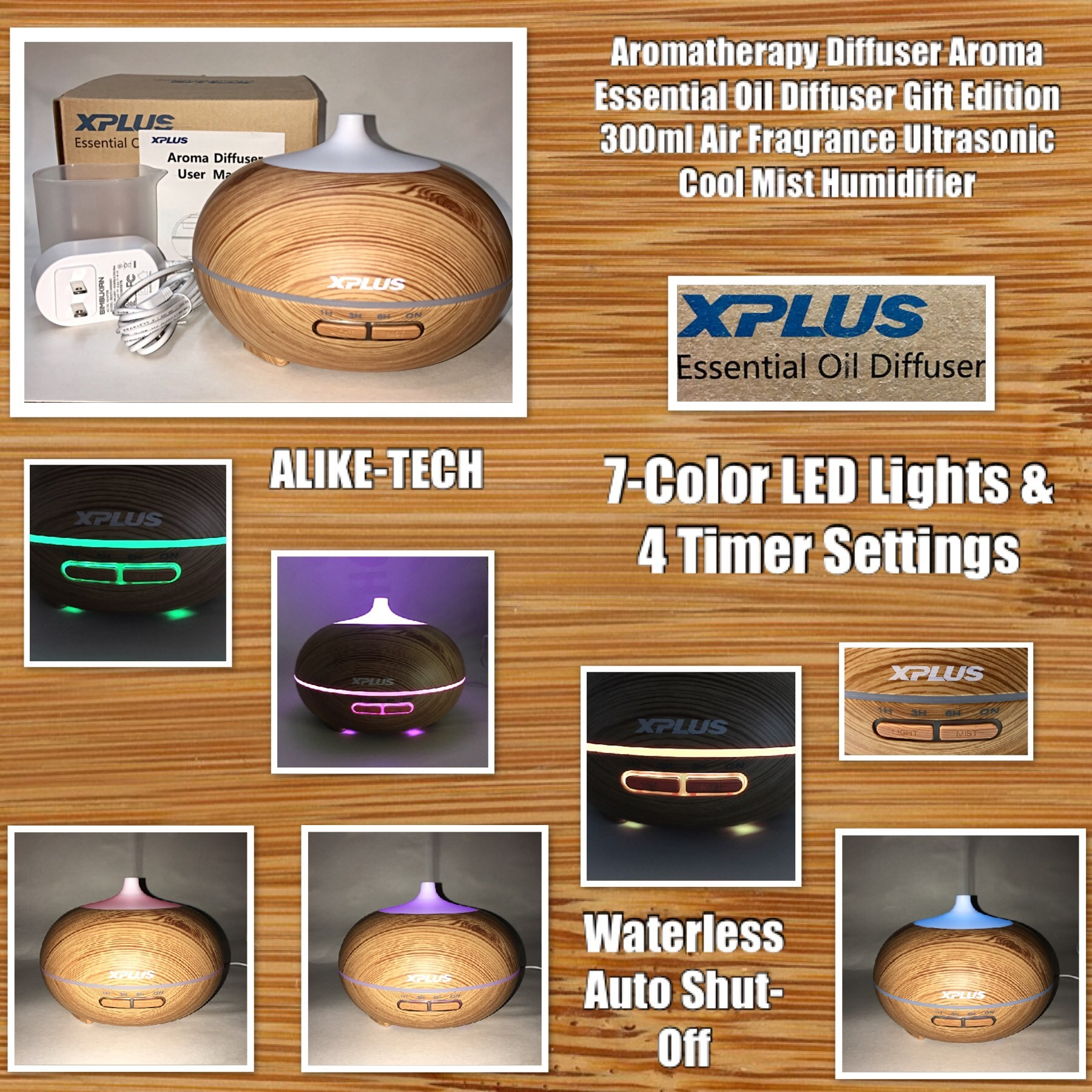 Aromatherapy Diffuser Aroma Essential Oil Diffuser Gift Edition 300ml Air Fragrance Ultrasonic Cool Mist Humidifier 7-Color LED Lights & 4 Timer Settings, Waterless Auto Shut-Off (Brown) - By ALIKE