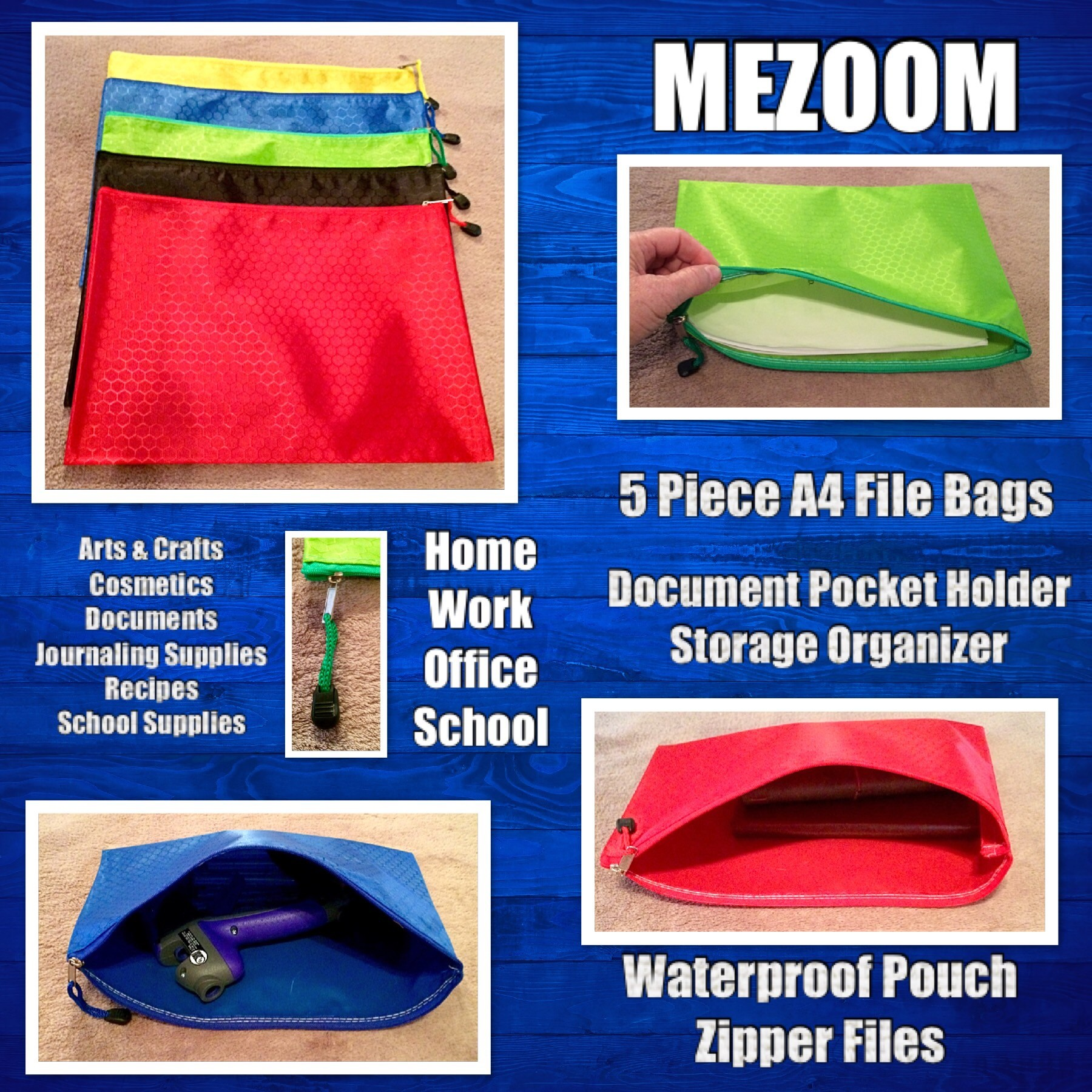 MEZOOM 5 Pcs A4 File Bags Document Pocket Holder Storage Organizer Waterproof Pouch Zipper Files Category Bag For Cosmetics Offices Stationery