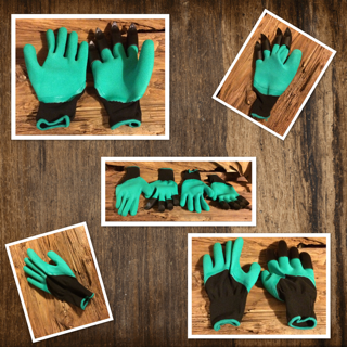 Garden Genie Gloves With Right Hand Fingertip Plastic Sturdy Claws For Digging – Two Pairs By iCreating